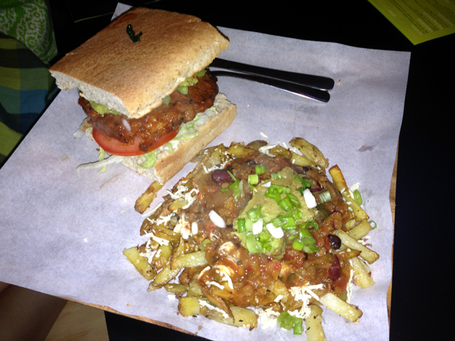 14. Winnipeg Boon Burger Spicy Boon Buffalo Burger with Poutine fries