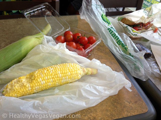 14. Winnipeg farmers market lunch corn and tomatoes