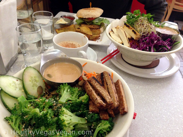 Montreal Aux Vivres bowls and tempeh burger