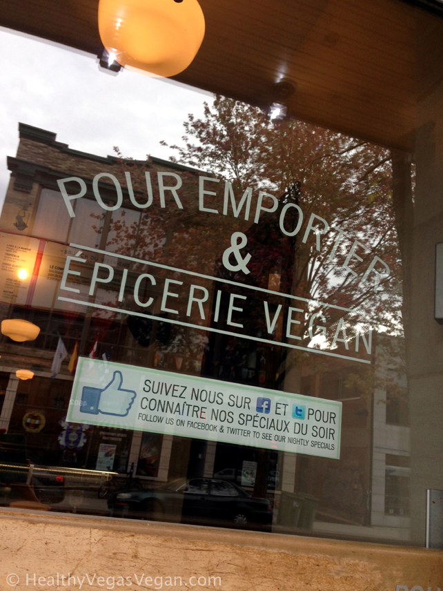 Montreal Aux Vivres to go sign