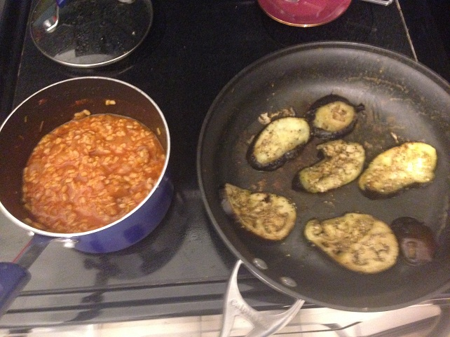Gaby kept the two parts of my Lentil-Topped Eggplant Steaks separate for her eggplant-weary friend.