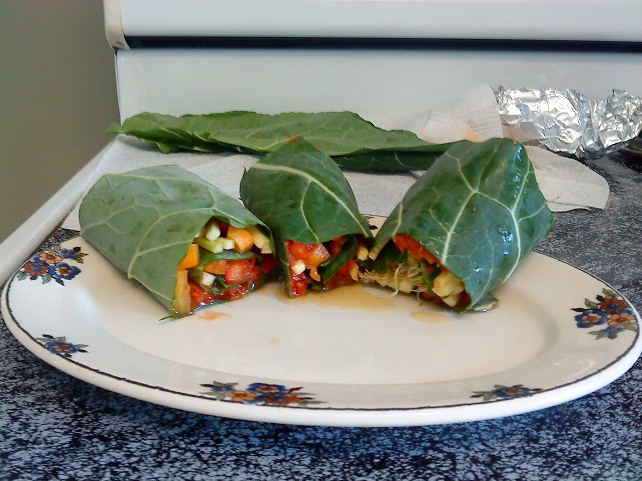 Paula and husband enjoyed eating my Chilli Collard Wraps.